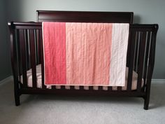 """Peach ombre baby quilt - Peach, red, and cream stroller blanket - Shot cotton with micro minky backing - 32""""x42.5"""" - Peach nursery bedding"""