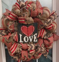 LOVE Wreath, Valentines Day Wreath, Wedding Decor, Rustic Decor, Shabby Chic Decor, Burlap Decor by LakeCountryTreasure on Etsy