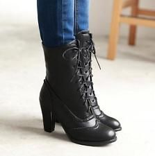 2017 Womens Med Chunky Heels Vintage Mid Calf Riding Boots Lace Up Brogues Shoes Pumps Heels, Stiletto Heels, High Heels, Zapatillas Casual, Chunky Heel Shoes, Ankle Booties, Studded Heels, Looks Chic, Mid Calf Boots