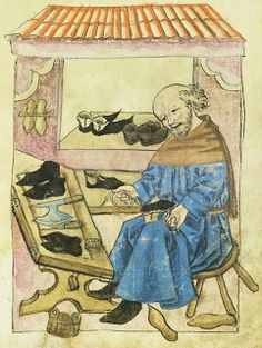 An awl lies on the table of shoemaker Ott Norlinger (1476) from the Hausbuch of the  Mendelschen Zwolfbruderstiftung (Neurenberg, Germany). Folio 96 recto.