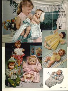 1962 2 PG Advertisement Baby Dolls Horsman New Carnation Milk Thirstee Cry.  Working on cleaning my childhood dolly up and getting her some clothes, she doesn't look like this anymore!