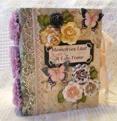 ELITE4U Georgette Shabby Handmade Premade Page Paper Piecing Chipboard Album   eBay