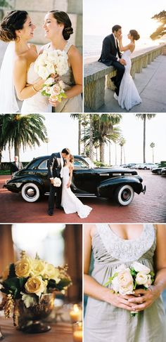 Love the snazzy old car, and that picture of the bride and groom is so sweet :) #photography #car #wedding