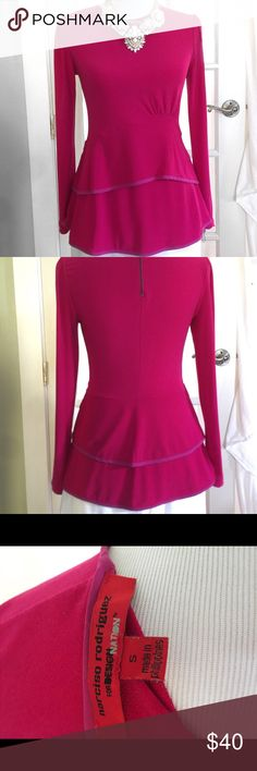 NWOT Narciso Rodriguez Fuchsia Peplum Blouse This is such a statement piece! Gorgeous details such as a cinched shoulder, zipper at neck, cinching at the waists and two tiers at the hem. This is a stunning top you don't want to miss out on! Great for dressing up OR down! NWOT Machine wash/line dry Narciso Rodriguez Tops Blouses