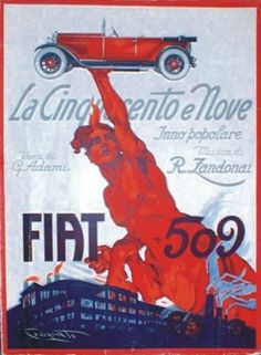 "TARGA VINTAGE ""1925 AUTO FIAT 509""PUBBLICITA' EPOCA,CAR ADVERTISING,POSTER,PLATE"