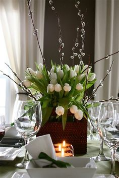White Tulips & Glassware