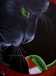 """Black Cat Profile and Hummingbird"" par Cyra R. Cancel"