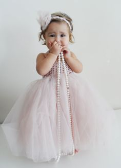 Ankle Length Blush Pink Baby Girl  Tutu Dress. Baby Flower Girl Tulle Dress with Lace Stretch Crochet Bodice in pale pink.