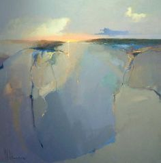 Peter Wileman V.P. ROI - Westcliffe Gallery, UK. Since opening in 1978 the Westcliffe Gallery has offered a new dimension to art lovers visiting North Norfolk | blue yellow beige abstract original painting | interior design