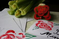 Stamped Celery Flowers – Who would have thought that this healthy snack could be used to make stationery? This would be great to use for invitations or thank you cards.