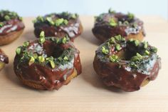 Matcha Donuts with a Chocolate & Pistachio Crunch Topping - gluten-free / dairy-free / no refined sugar