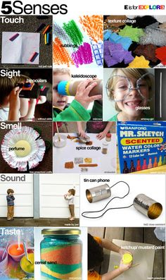 5 senses fun! Lots of projects and experiments you can organize at home (or school!)