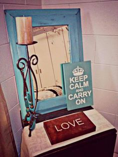 "Customer Pic of our Pine ""Keep Calm"" Sign and our Kwila ""Love"" Decorative Block  www.Facebook.com/OneChicLane"