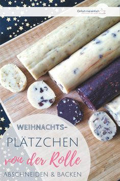 Kekse also with Kindern backen. Weihnachtsplätzchen aus Keksrollenteig is the perfect method for les No Bake Cookies, Cookies Et Biscuits, Cake Cookies, Christmas Cookies, Christmas Biscuits, Christmas Baking, Baking Recipes, Cookie Recipes, Dessert Recipes