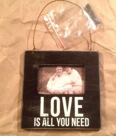 "Love Is All You Need Primitives By Kathy Wood Frame Holds 2""x 3"" Photo Black  #PrimitivesByKathy #loveisallyouneed #love"