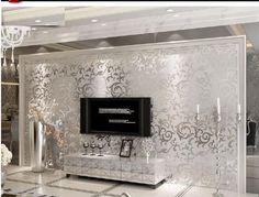 Contemporary Wallpaper Art Deco Wall Covering Non-woven Paper Wall Art – USD … - grassbibe. Wallpaper Art Deco, Silver Wallpaper, Cheap Wallpaper, Luxury Wallpaper, Embossed Wallpaper, Contemporary Wallpaper, Room Wallpaper, Textured Wallpaper, Latest Wallpaper