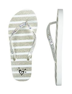 Striped Sequin Flip Flops
