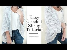 Create a cozy blanket shrug using this free crochet pattern. This shrug will keep you warm and stylish. Created using a one stitch repeat! Easy Crochet Shrug, Crochet Shrug Pattern Free, Crochet Shirt, Cute Crochet, Crochet Scarves, Crochet Clothes, Knit Crochet, Crochet Patterns, Crochet Sweaters