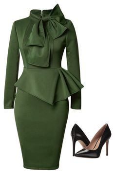 Sexy Dresses, Club & Party Dress Sale Online Page 2 - Peplum Waist Bowknot Embellished Army Long Sleeve Peplum Dress, Peplum Midi Dress, Green Midi Dress, Pencil Dress, Midi Dresses, Dress Long, Cotton Dresses, Fitted Dresses, Hot Dress