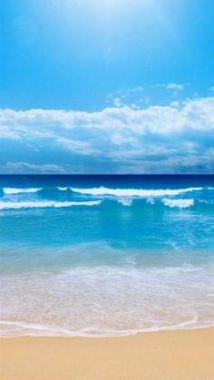 Nature Clear Ocean Beach Skyline iPhone 6 wallpaper