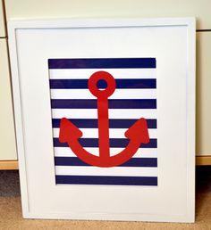 Nautical nursery 8 x 10 print- anchor art- boy nursery art- nautical theme- teenage boy room print- navy and red print- baby shower gift. $9.00, via Etsy.