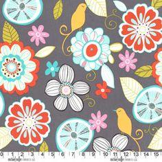 LOVE LOVE LOVE! Michael Miller Fabrics Tweet Birdie Tweet Gray1 Yard by FabricTree, $9.00