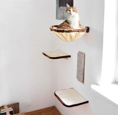 Silvio Design Katzen-Kletterwand 4-teilig zum kuscheln, schlafen und kratzen