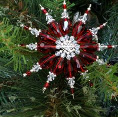 Double Beaded Star Tutorial • The Crafty Mummy Snowflake Craft, Snowflake Ornaments, Snowflakes, Diy Ornaments, Homemade Christmas Crafts, Holiday Crafts, Beaded Christmas Ornaments, Christmas Decorations, Christmas Balls