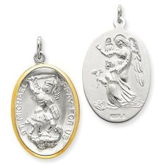 Saint Michael -Sterling Silver W/vermeil Medal Pendant Steel Necklace Chain Marcasite Jewelry, Pearl Jewelry, St Michael Medal, Saint Michael, St Christopher Medal, St Michael Pendant, Sterling Silver Chains, Jewelry Collection, Jewelry Gifts