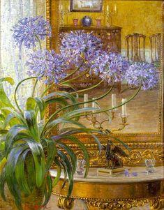Agapanthus Before a Mirror by Carl Budtz-Moller on Curiator, the world's biggest collaborative art collection. Monet, Painting Still Life, Fauna, Minimalist Art, Artist Art, Art World, Picasso, Garden Art, Flower Art