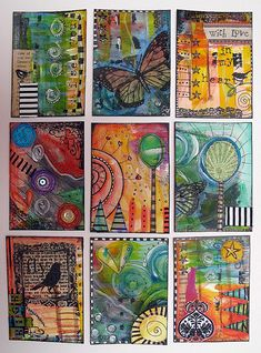 9 ATCs (Artist Trading Cards) -- According to the blog, it seems they were all made in one day! They're definitely all beautiful.