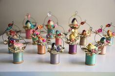 ornaments / spools of thread