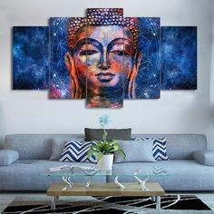 Galaxy Buddha Abstract 5 piece Canvas Wall Art Picture Printed Home Decor Canvas Wall Decor, Home Decor Wall Art, Wall Art Prints, Poster Prints, Canvas Prints, Buddha Canvas, Buddha Wall Art, Buddha Painting, Wall Art Pictures
