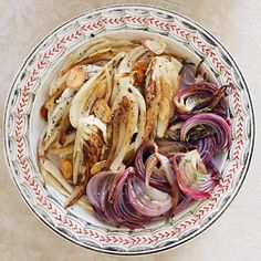 Roasted Red Onions and Fennel