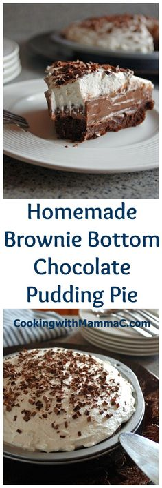 We love this Homemade Brownie Bottom Chocolate Pudding Pie. Completely from scratch and so delicious! We love this Homemade Brownie Bottom Chocolate Pudding Pie. Completely from scratch and so delicious! Chocolate Pie With Pudding, Chocolate Desserts, Fun Desserts, Delicious Desserts, Dessert Recipes, Brownie Pudding, Delicious Chocolate, Pie Recipes, Cake Chocolate