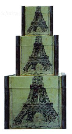 cód. 101.018 BAÚS CJ3PC CAIXA PARIS EIFFEL  53x57x51cm