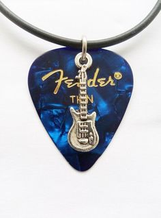 Blue Fender guitar pick necklace silver musical charm and size - to Guitar Pick Jewelry, Guitar Pick Necklace, Acoustic Guitar Strings, Acoustic Guitars, Guitar Outline, Initial Pendant Necklace, Guitar Stand, Guitar Songs