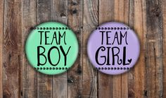 team boy and team girl light purple and light green gender reveal pins. by LittleShindig on Etsy https://www.etsy.com/listing/552407021/team-boy-and-team-girl-light-purple-and