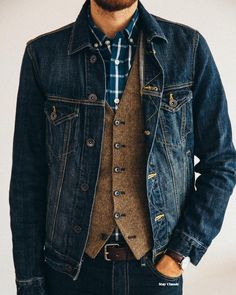 By timmelideo dark denim jacket, tweed pants, trousers, vest outfits, casua Trend Fashion, Denim Fashion, Look Fashion, Man Fashion, Fashion Inspiration, Vest Outfits, Casual Outfits, Stylish Men, Men Casual