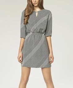 Loving this NIFE Black & White Houndstooth Blouson Dress on #zulily! #zulilyfinds