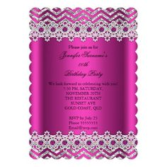 "Deep Pink Pearl Chevron Silver Birthday Party 5"" X 7"" Invitation Card"