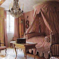A bedroom at Château de Morsan, Normandy