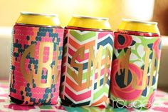 Metallic Monogram Koozies!!!  Great for tailgating or bachelorette parties!!  www.threehipchicks.com