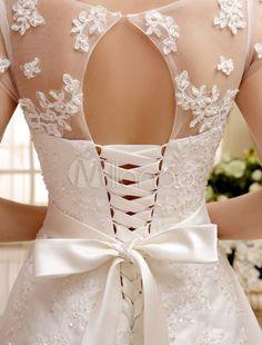 Vestido de noiva curto marfim em renda e cetim com laço na cintura - Milanoo.com