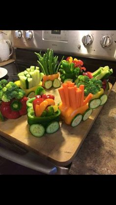 baby shower train ideas for food - an easy DIY, vegetable pepper train!