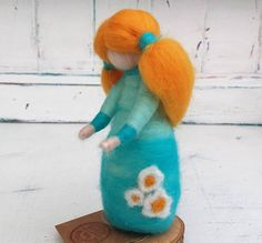 Needle felted fairy, turquoise doll