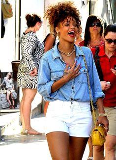 White Shorts Outfit. Denim Shirt. Chambray Top. Urban Fashion. Summer Fashion. Rihanna Style