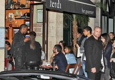 Kim Kardashian Photos Photos - Kim Kardashian and boyfriend Kanye West go for a ride in a white Lamborghini then head for a drink at Ferdi bar. - Kim Kardashian and Kanye West at Ferdi