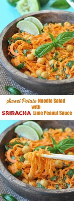 Spiralized sweet potato salad with chickpeas and a spicy and tangy sriracha lime peanut sauce. The perfect recipe for a hot summer day! http://www.veganosity.com