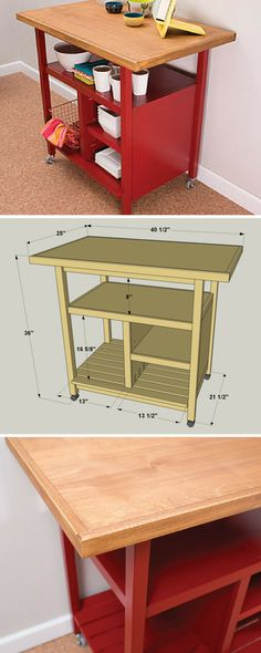 This kitchen cart offers a large work space plus ample storage. Plus, the cart sits on casters, so you can roll it where you want it, and easily move it out of the way. Whether you use it as an island or as a cart that you pull out on occasion, you'll appreciate everything it has to offer. Get the free DIY plans at buildsomething.com